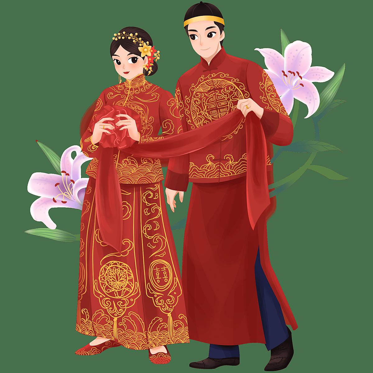 手绘-中式婚礼大尺寸人物插画贴纸4
