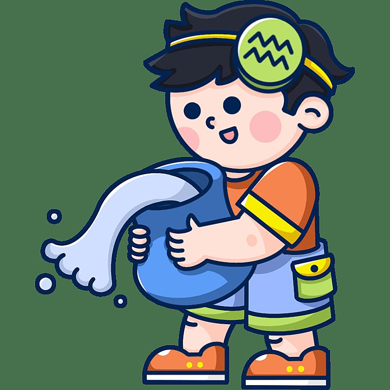 MBE风-十二星座幼儿插画-水瓶座