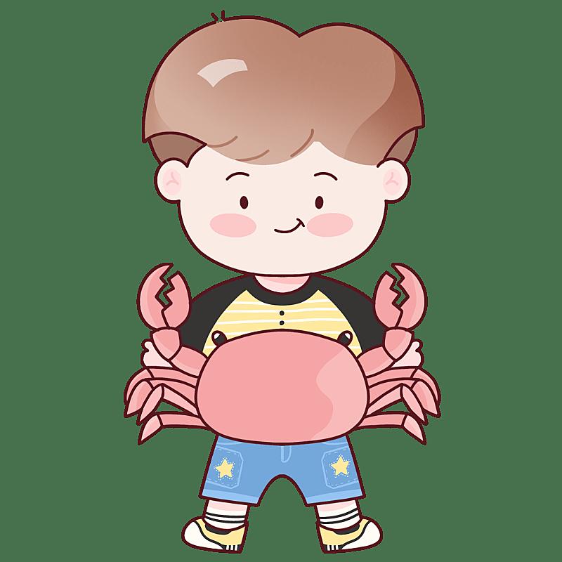 手绘-十二星座儿童人物插画-巨蟹座
