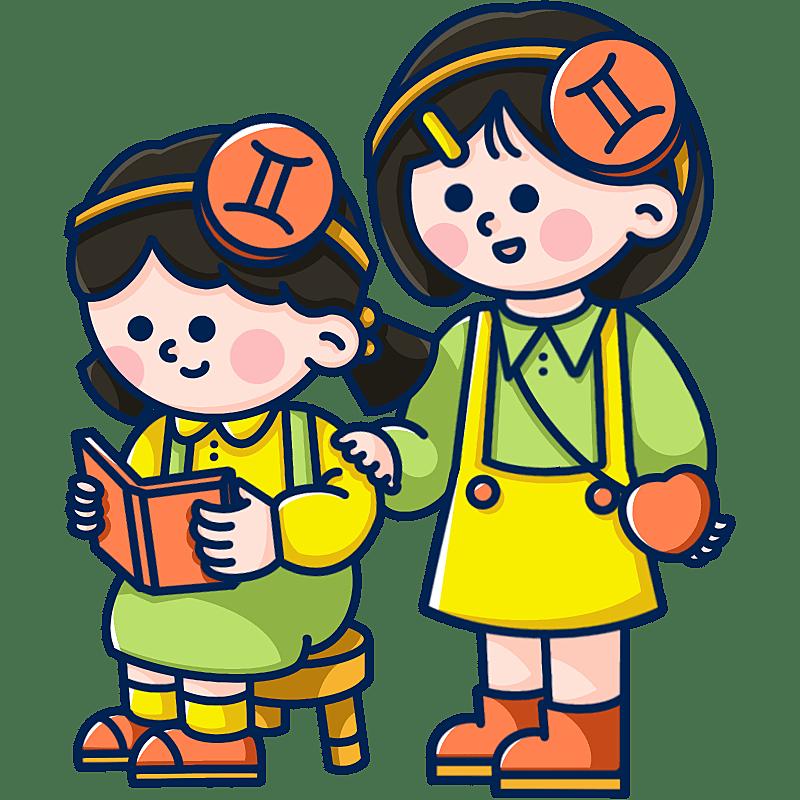 MBE风-十二星座幼儿插画-双子座