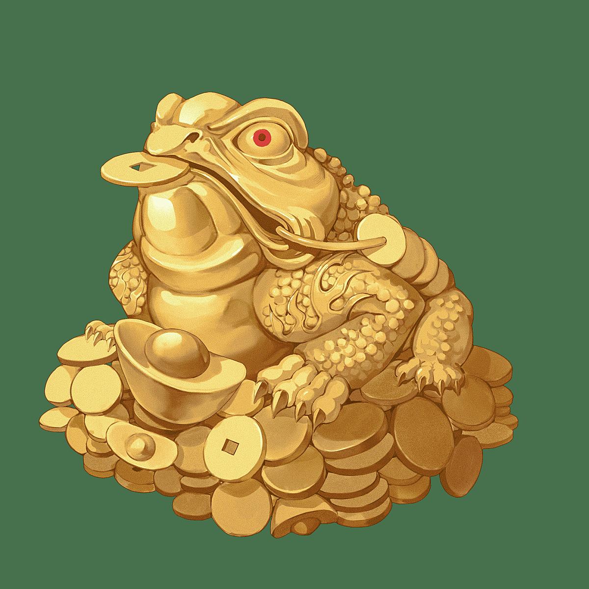 中国风-金色国潮动物元素-三足金蟾