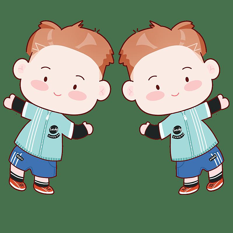 手绘-十二星座儿童人物插画-双子座