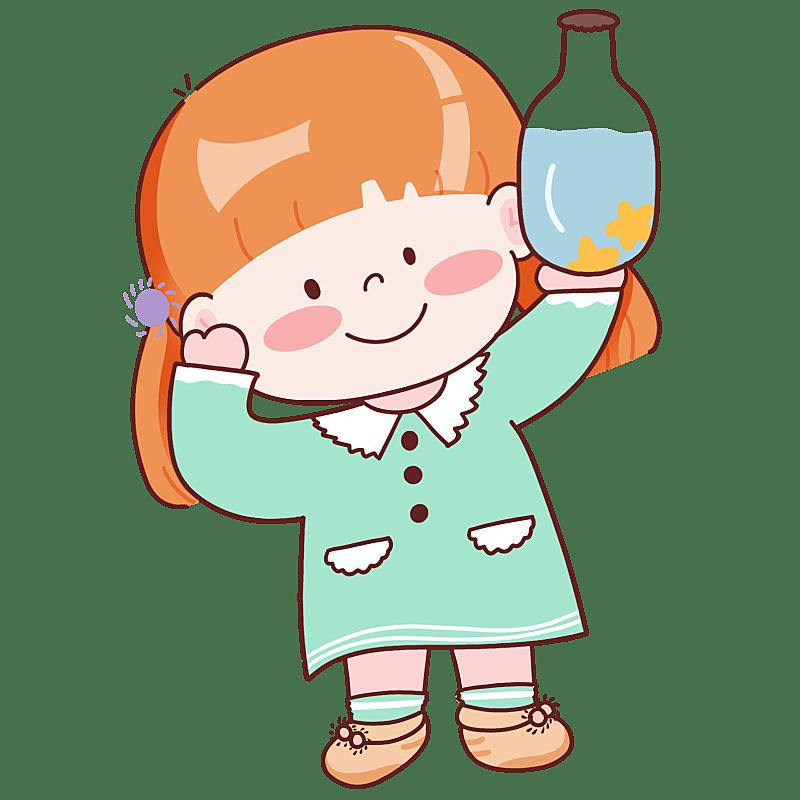手绘-十二星座儿童人物插画-水瓶座