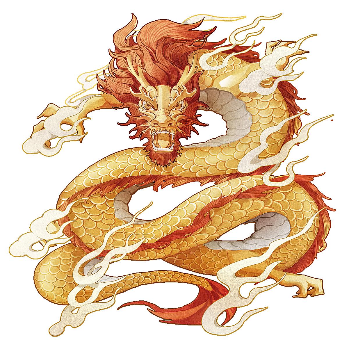 中国风-金色国潮动物元素-龙