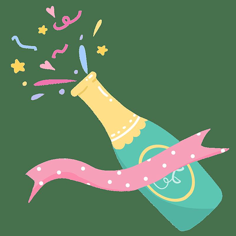 手绘-生日装饰元素2-香槟