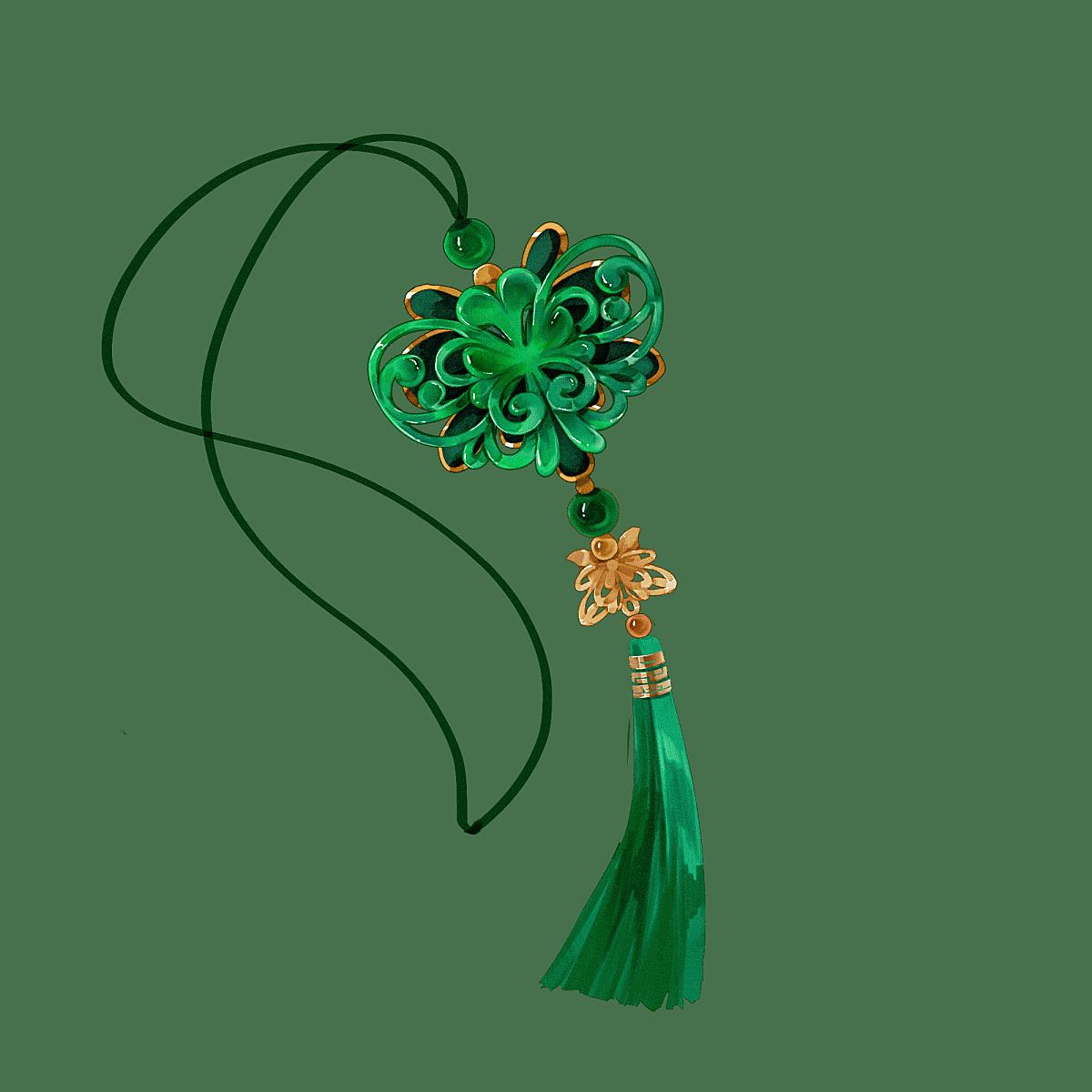 中国风-国潮配饰服饰单品贴纸-玉佩