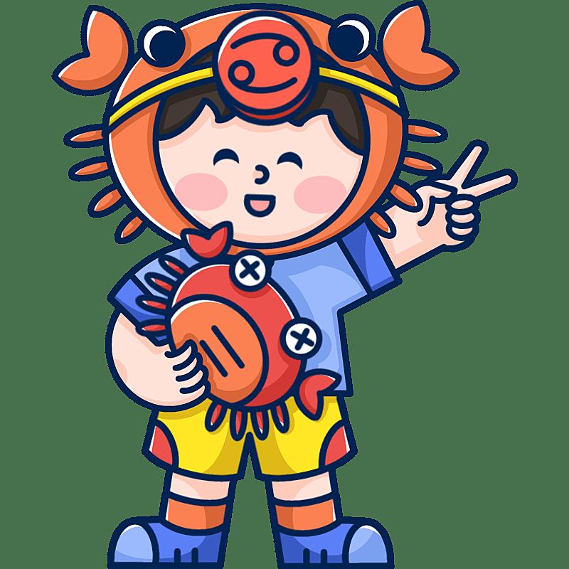 MBE风-十二星座幼儿插画-巨蟹座
