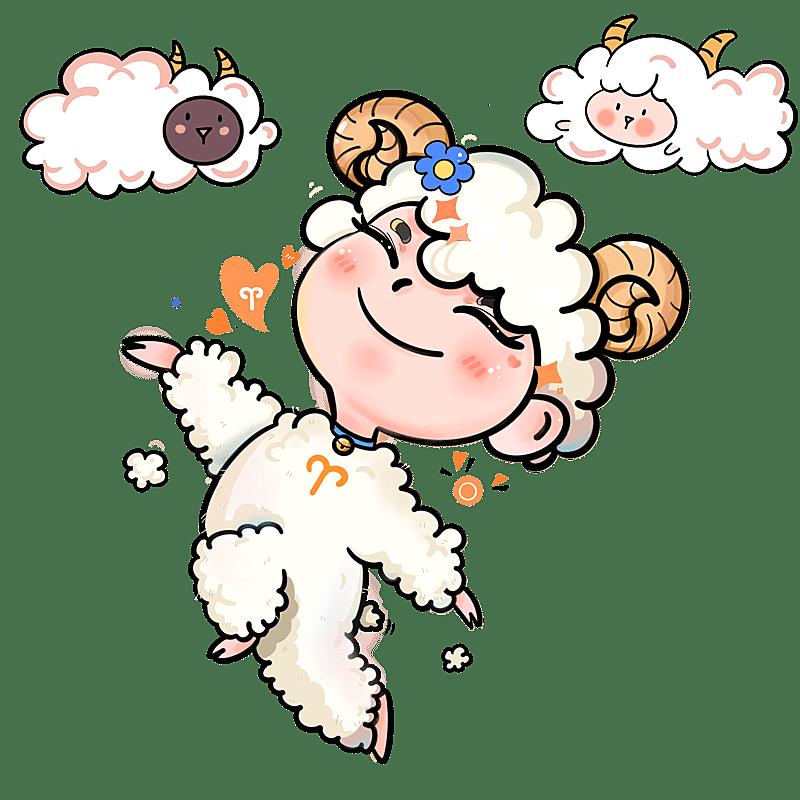 手绘-十二星座儿童插画-白羊座