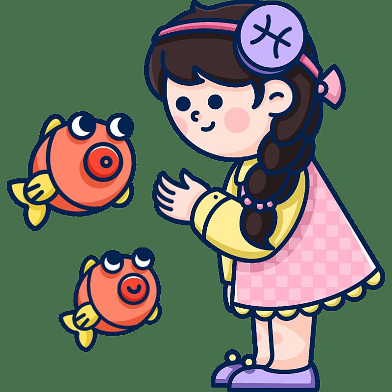 MBE风-十二星座幼儿插画-双鱼座