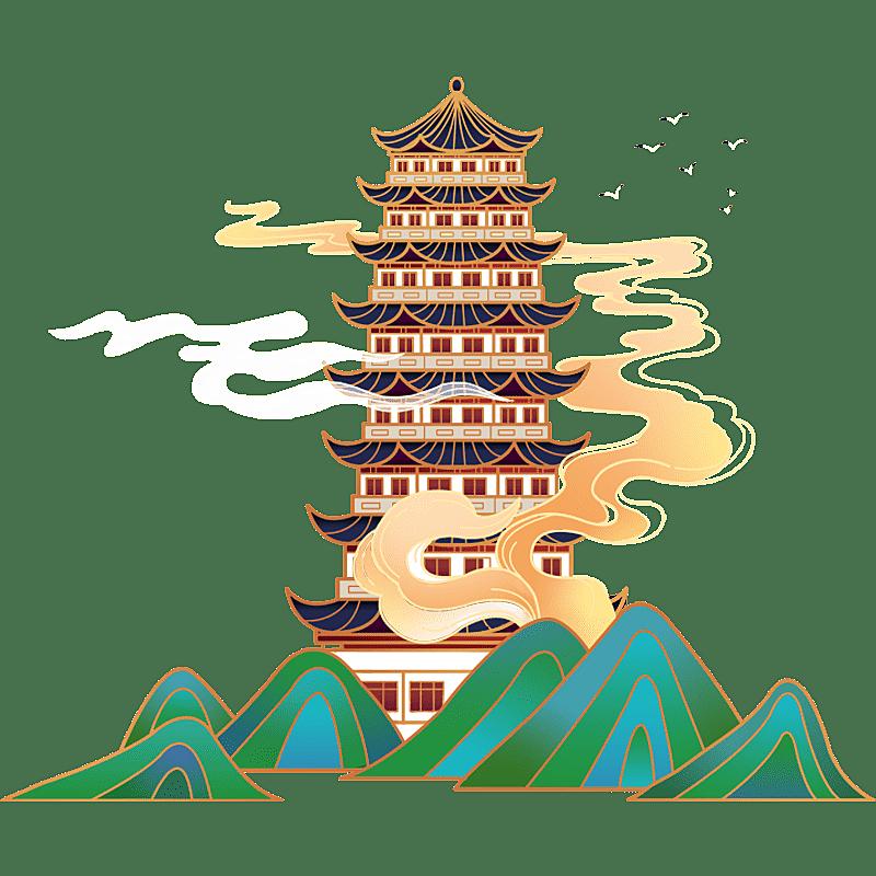 中国风-国潮建筑元素插画10