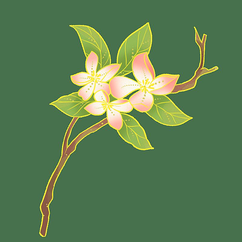 中国风-国潮植物元素贴纸-桃花