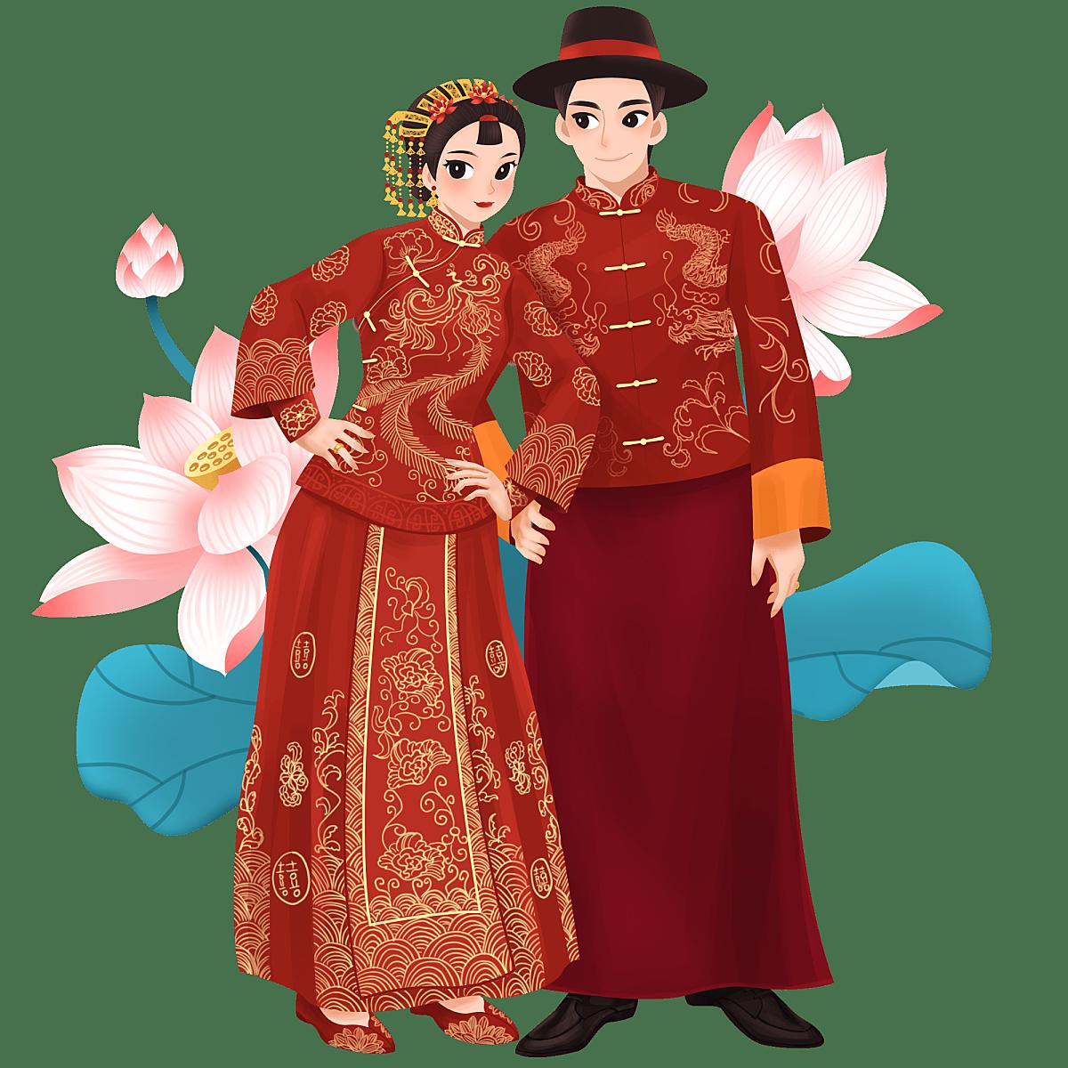 手绘-中式婚礼大尺寸人物插画贴纸5