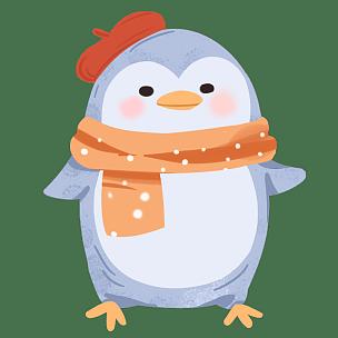 手绘-冬天季节元素贴纸套系-企鹅